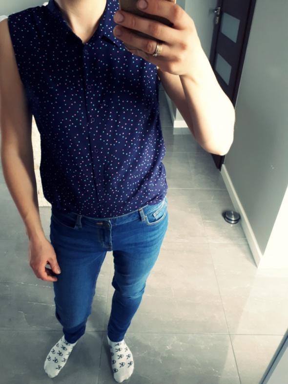 Cudna koszula bez rękawów w kolorowe kropki