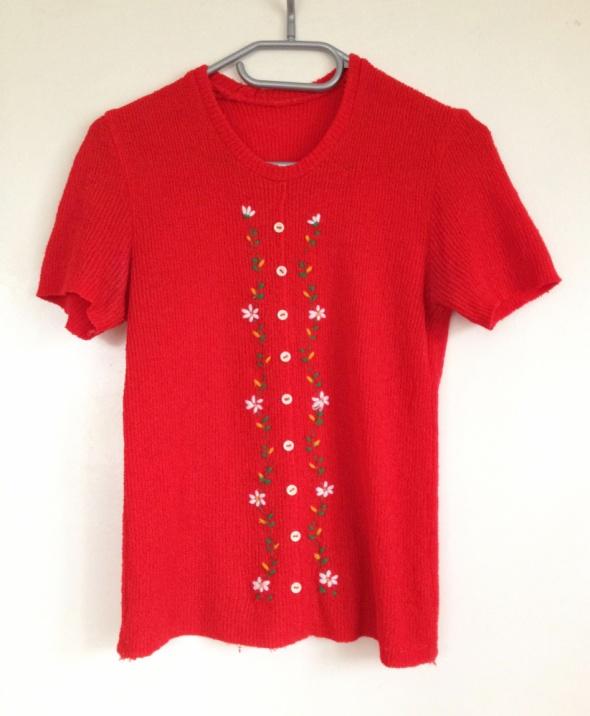 Sweter sweterek z haftem haft ozdobny nadruk czerwony krótki rę...