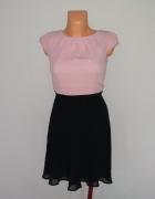 Elegancka tiulowa sukienka czarno różowa S...