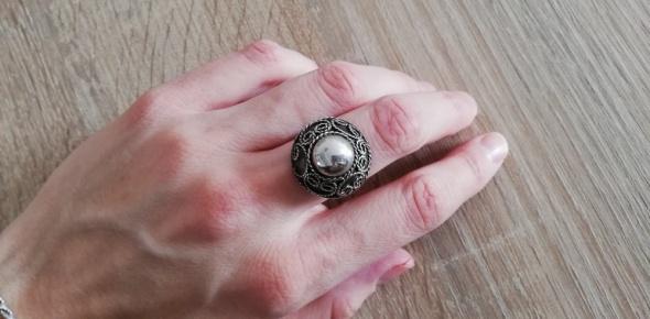 Imago artis stary srebrny pierścionek kopuła punce...