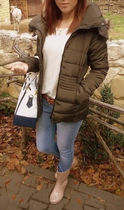 Odzież wierzchnia kurtka khaki S Camaieu taliowana z kapturem