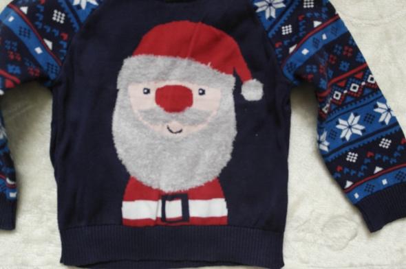 Sweterek z Mikołajem granatowy 98