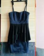 Sukienka H&M granatowa z baskinką siateczkową w kolorze czarnym...