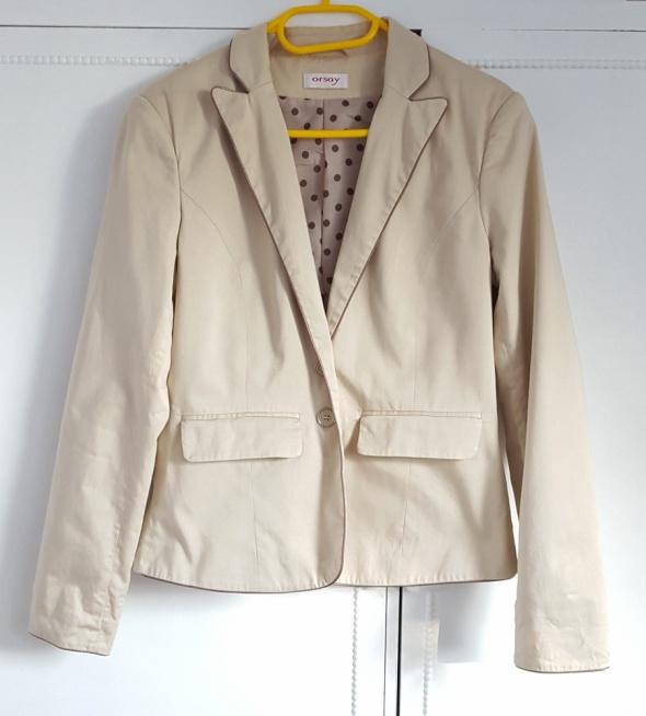 Beżowa marynarka Orsay 40 L żakiet kurtka jasna elegancka