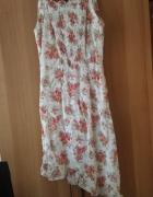 Sukienka asymetryczna w kolorowe kwiatki 38