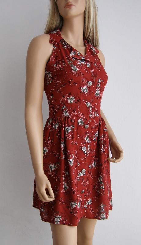 Sukienka kwiaty S M zwiewna kołnierzyk kieszenie