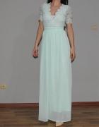 piękna miętowa suknia Asos długa maxi...
