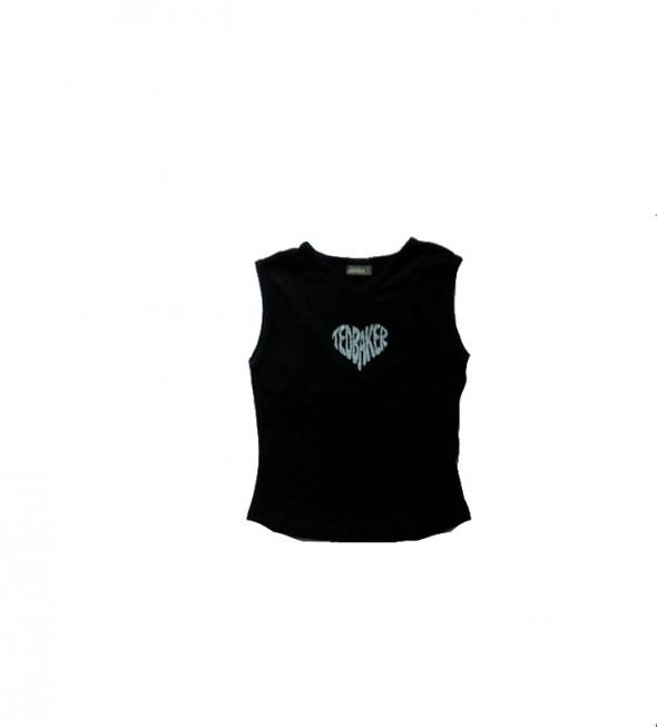 Bluzki Bluzka czarna krótki rękaw z sercem 140