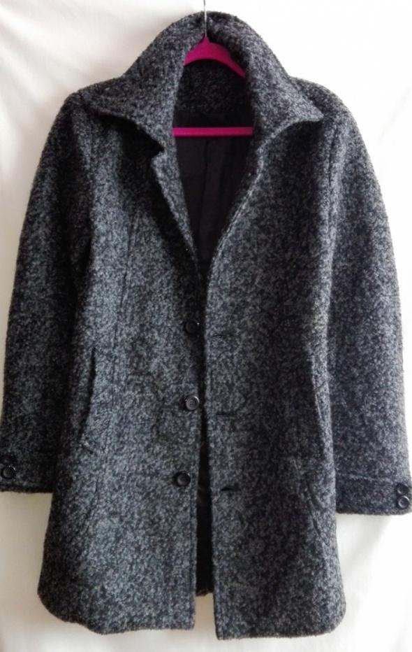 Płaszcz wełniany szary prosty z tkaniny boucle rozmiar S M...