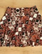 Spódnica brązowo beżowa printy H&M 40 L...