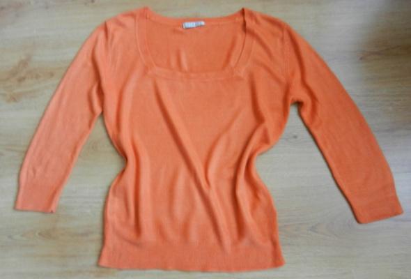 Sweter bluzka pomarańczowy rudy karo 40 L...
