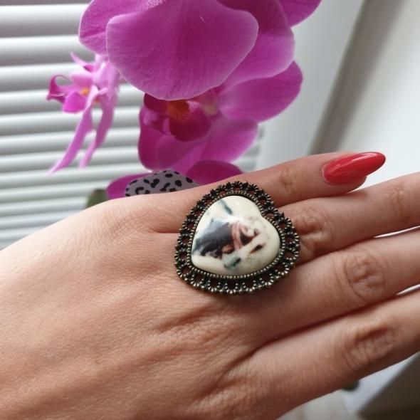House nowy pierścionek serce retro