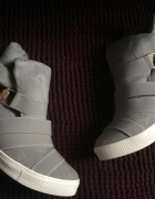 Nowe szare sneakersy trampki tenisówki na koturnie...