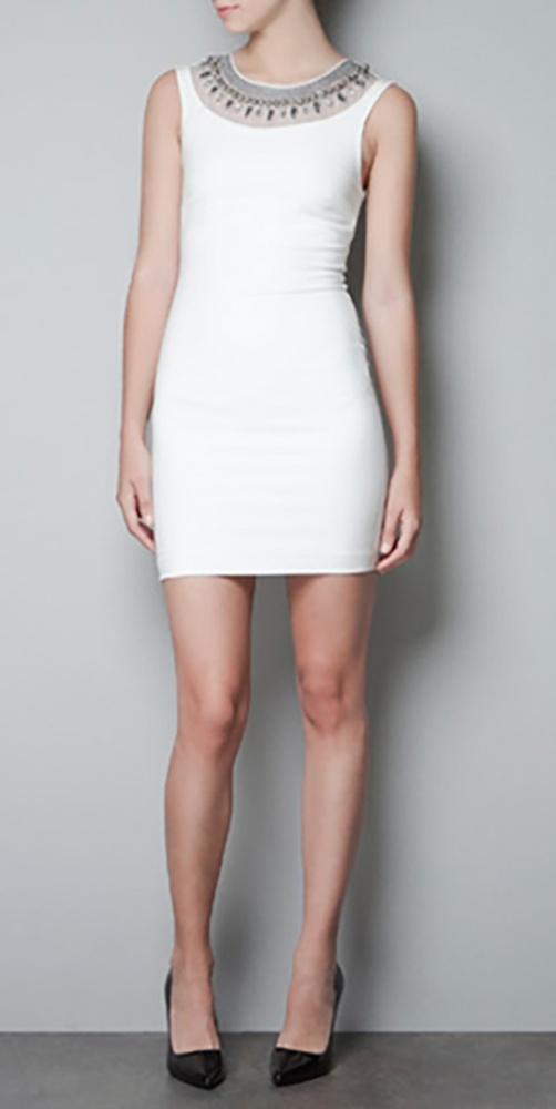 Zara biała mini sukienka tuba bez rękawów z biżuteryjnym zdobie...
