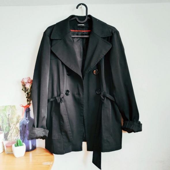 Czarny krótki płaszcz płaszczyk trencz L...