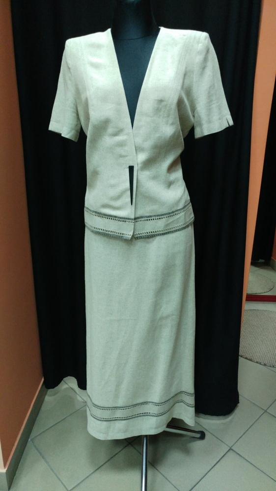 Komplet garsonka kostium żakiet spódnica lniany lniana Zender 3...