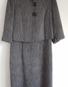 Elegancki szary komplet 40 L sukienka żakiet wełna retro vintag...