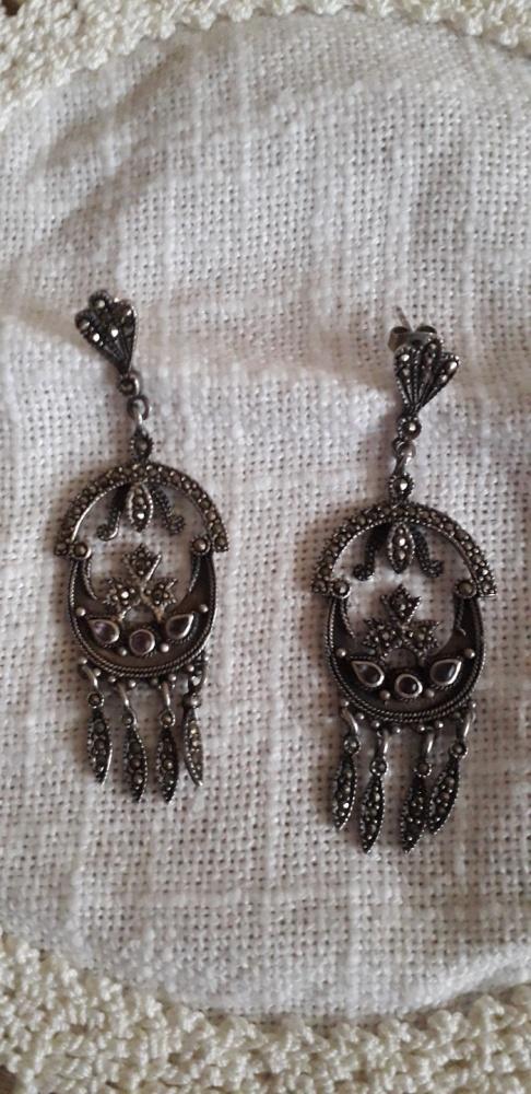 Stare srebrne długie kolczyki z ametystami i markazytami