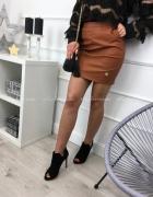 sexy mini eko skóra skórzana camel 40 L spódnica la blanche...