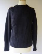 Sweter H&M M 38 Granatowy Warkocze Granat Zlote Guziki...