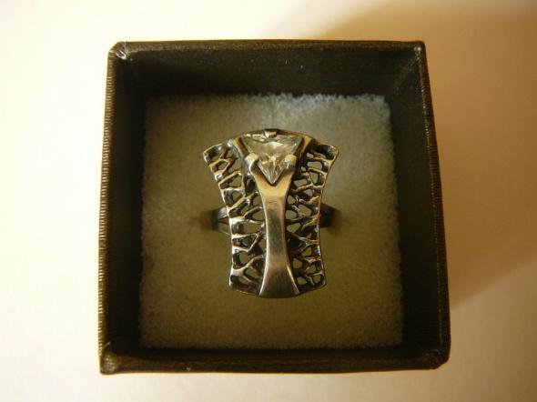 Ciekawy stary srebrny pierścionek