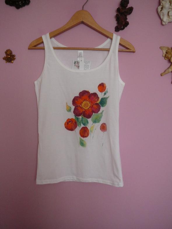 Top koszulka ręcznie malowana kwiaty r S