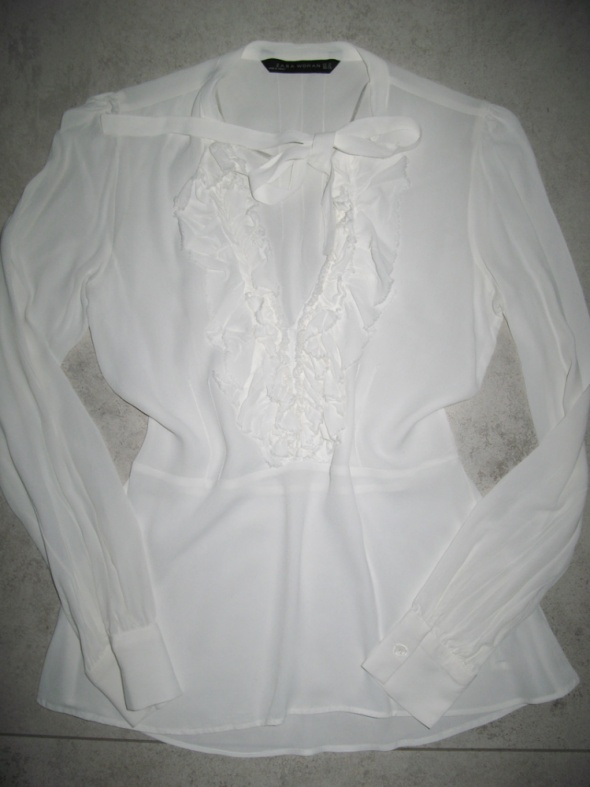 ZARA elegancka biała bluzka damska z żabotem roz 34