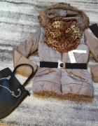 Nowa kurka zimowa z futerkiem komin i rękawiczki gratis...