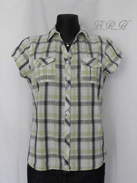 koszula w kratę biała seledyn khaki