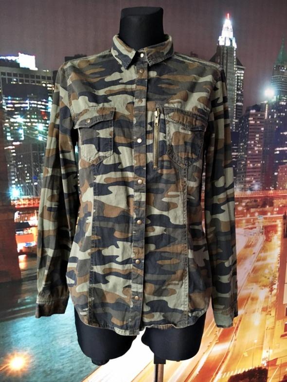 lindex koszula modny wzór moro kieszonki zip casual 38 M