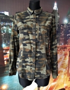 lindex koszula modny wzór moro kieszonki zip casual 38 M...
