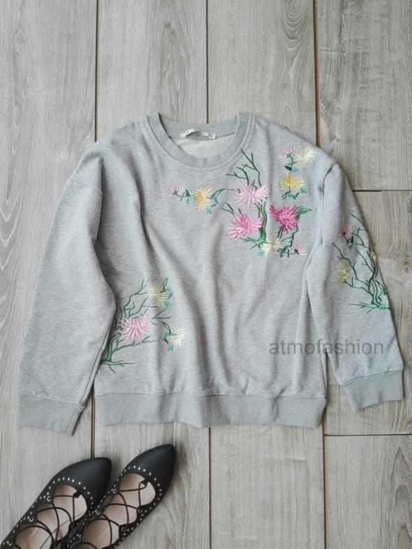 shein szara bluza jesień haftowana hafty S 36 blog