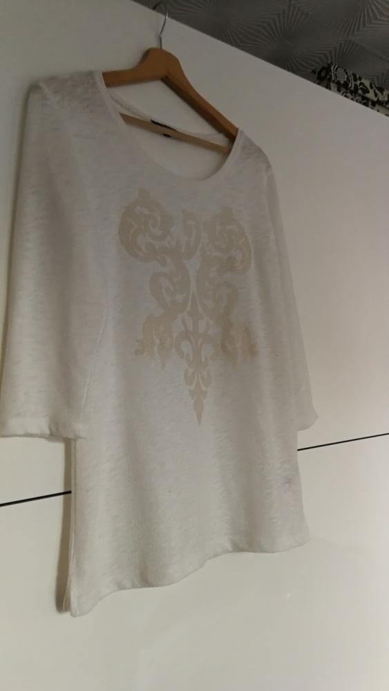 Sweter bluzka Reserved ecru z aplikacją rozm L...