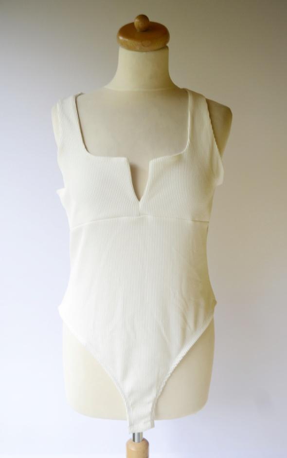 Body Białe Prążki XL 42 Gina Tricot Biel Sexy Bluzka Dekolt