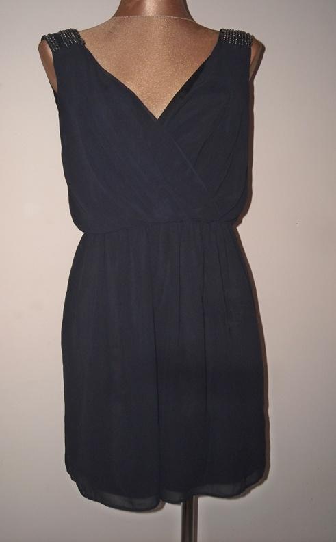 Suknie i sukienki granatowa sukienka zara mgiełka s