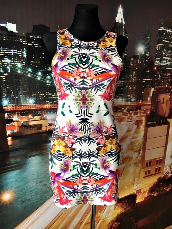 atmosphere sukienka mini kolorowa kwiaty hawajska 36 S...