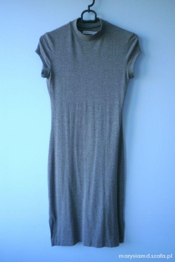 Cotton Club dopasowana sukienka szara obcisła midi