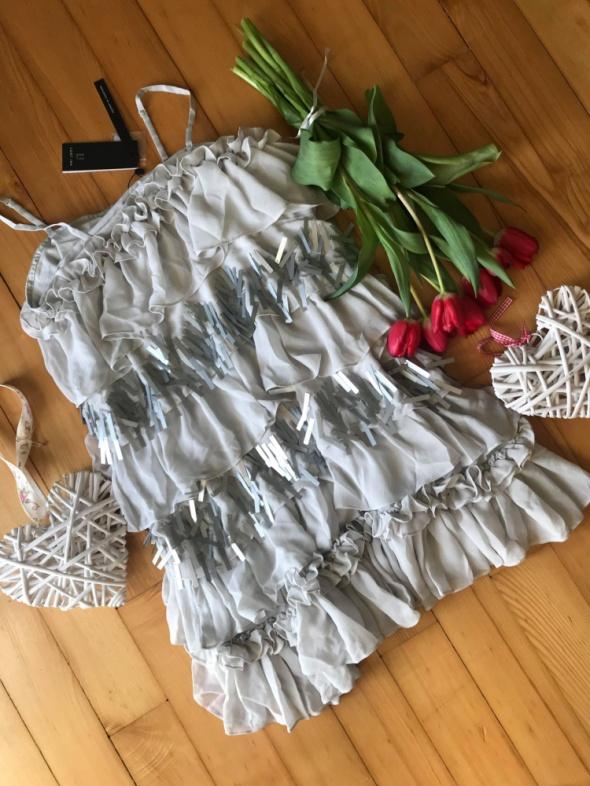 Suknie i sukienki Lost ink szara koktajlowa falbany cekiny XS