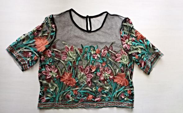 Siateczkowa wyszywana bluzka kwiaty S M