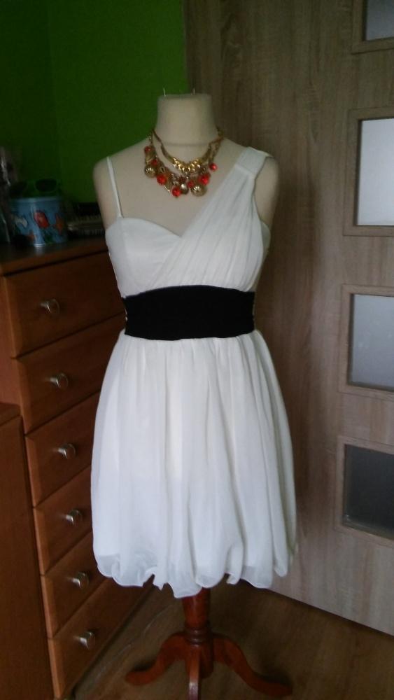 Ecrii sukienka jedno ramię ozdobne 40 42