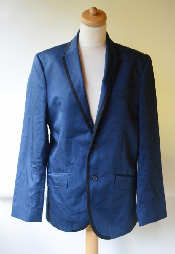 Marynarka Metaliczna Niebieska H&M 50 Elegancka Lampasy