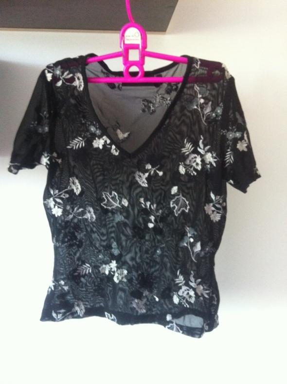 Czarna Koszulka siatka kwiaty S M XS L