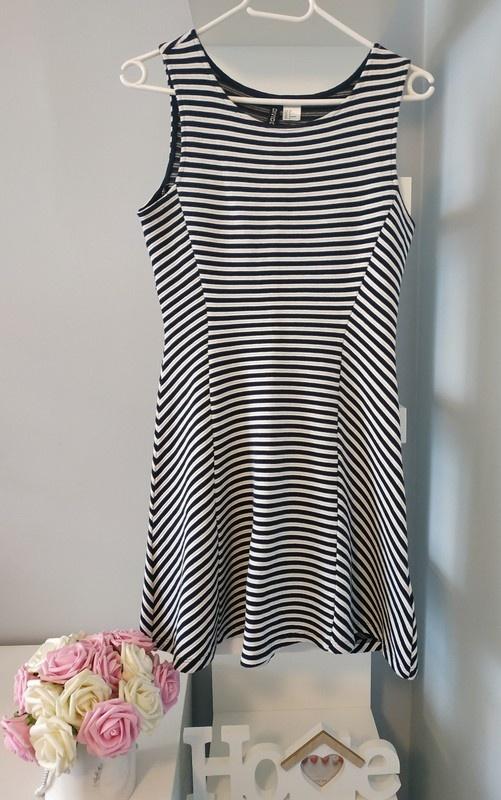 Sukienka H&M w paski gruby materiał xs s...