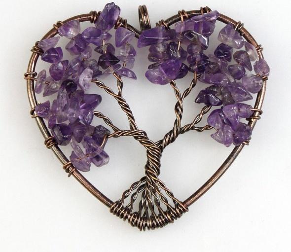 Wisiorek z ametystem serce drzewko szczęścia