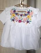 Zara bluzka z popeliny biała hafty falbanki floral...