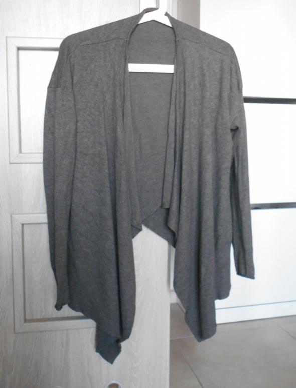 Zara knit szary sweter narzutka waterfall dzianina