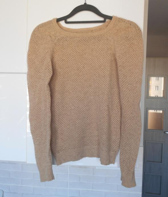 Mango sweter nude ażurowy delikatny beżowy