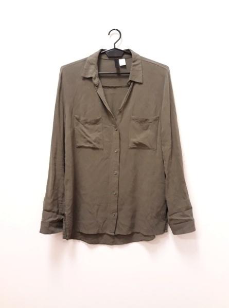 Koszula bluzka H&M Divided khaki wiskoza 34 XS