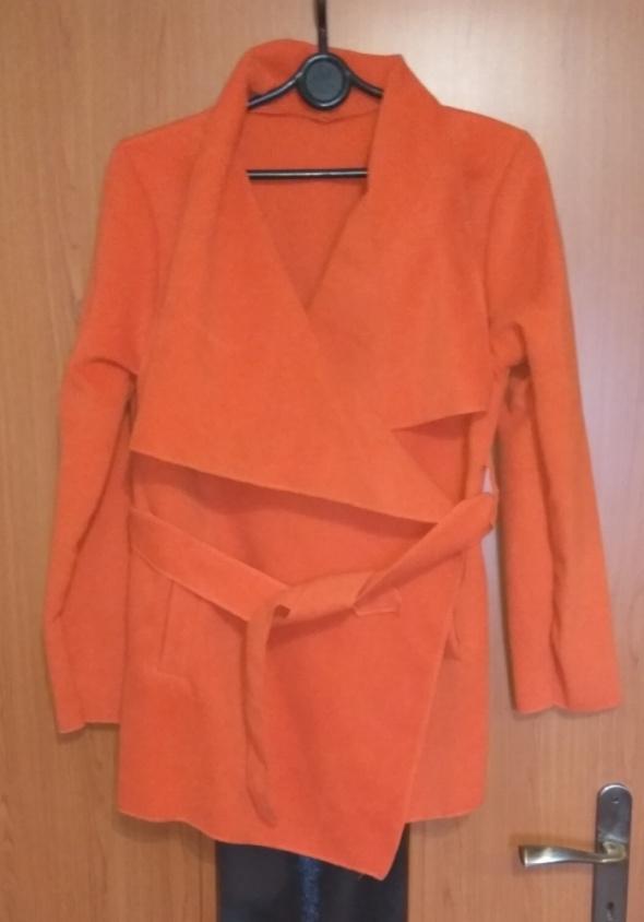 Ceglany płaszcz flauszowy nowy szlafrokowy wiosenny jesienny L XL
