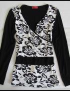 Bluzka czarno biała kopertowy dekolt super do karmienia 38 M...